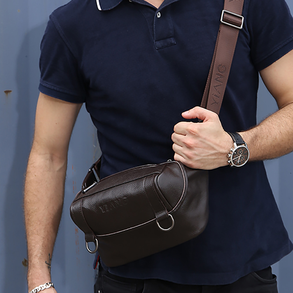 ФОТО Men Women Genuine Leather Messenger Shoulder Bag Fashion Designer Casual Cross Body Bags Famous Brand Single Chest Day Pack New