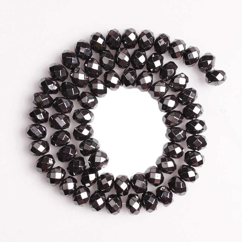CAMDOE DANLEN Natürliche Stein Schwarz Hämatit Dicke Faceted Spacer Runde Perle Fit Diy Handmade Perlen Für Schmuck Machen Zubehör