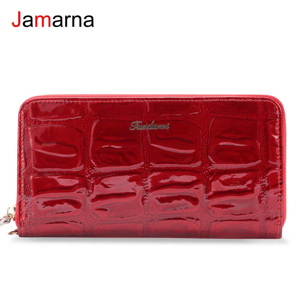 Cartera Jamarna de cuero genuino para mujer, carteras con cremallera, patrón de cocodrilo rojo, cartera larga para mujer