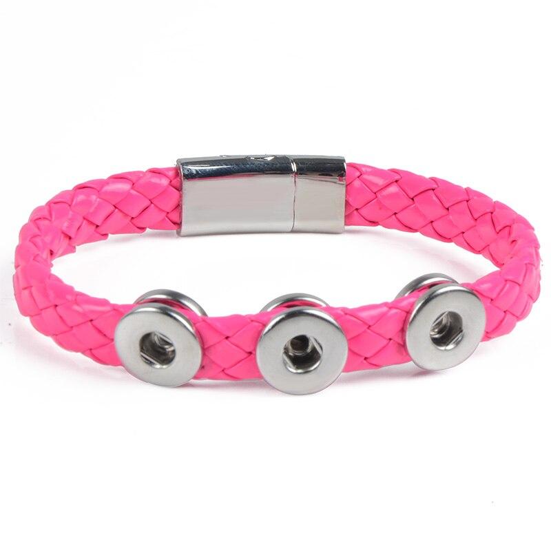 0707c931c935 Nuevo brazalete y brazaletes 10 colores botón de la alta calidad pulsera de  cuero envuelto para 12mm Snap joyería del botón