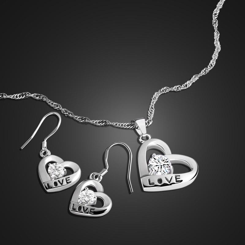 Sweet heart-shaped pendant design silver jewelry 925 sterling silver pendant necklace / earrings set ladiy jewelry birthday