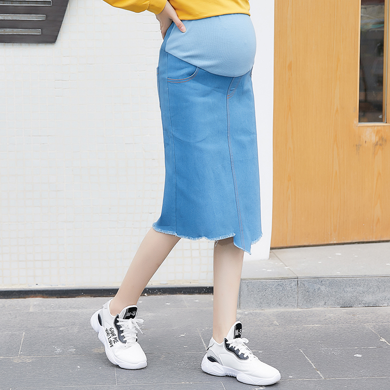 b22512c304256 Detail Feedback Questions about 523# 2019 Spring Fashion Strech Denim  Maternity Skirts High Waist Belly Pencil Skirts Clothes for Pregnant Women  Pregnancy ...