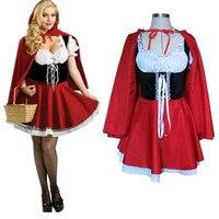 プラスサイズロールプレイドレス赤ずきんフード衣装コスプレ大人パーティークラブウェアセクシーカーニバルハロウィン衣装のための女