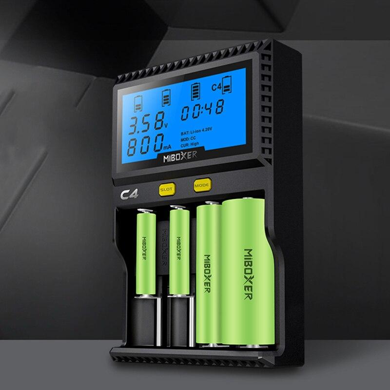 C4 Miboxer Batteria Caricatore Intelligente 4 LCD Slot per 10340 10440 AA AAA 14500 18650 26650 Caricabatteria Universale del Caricatore