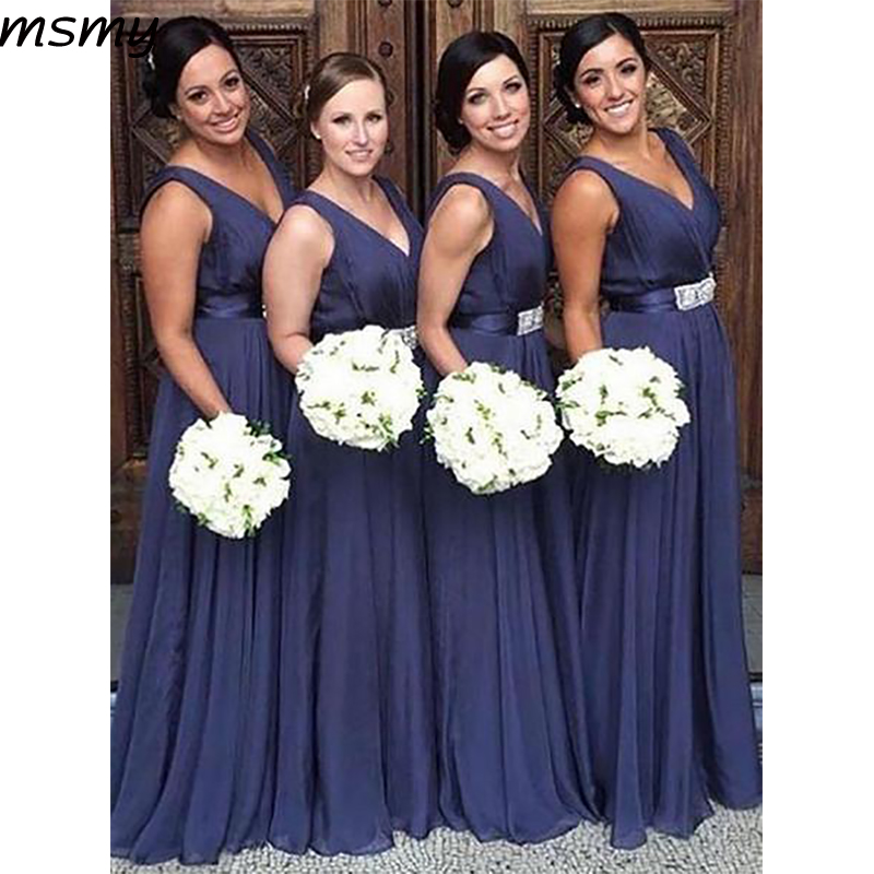 Simple A-Line V-Neck Chiffion   Bridesmaid     Dresses   Strapless Sleeveless Cheap Long   Bridesmaid     Dresses   Custom Made