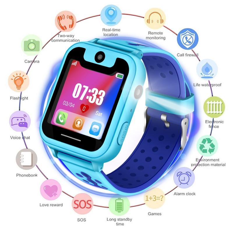 2018 Nouveaux Enfants Imperméables smartwatch SOS D'appel D'urgence GPS De Sécurité Positionnement Suivi Bébé Numérique Montre Soutien SIM Carte
