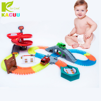 Magical Racing Tracks Funny Accessories Turntable Bridge Crossroads For 7.5CM Glowing Race tracks Creative Car Toy For Children arena tracks 9234157