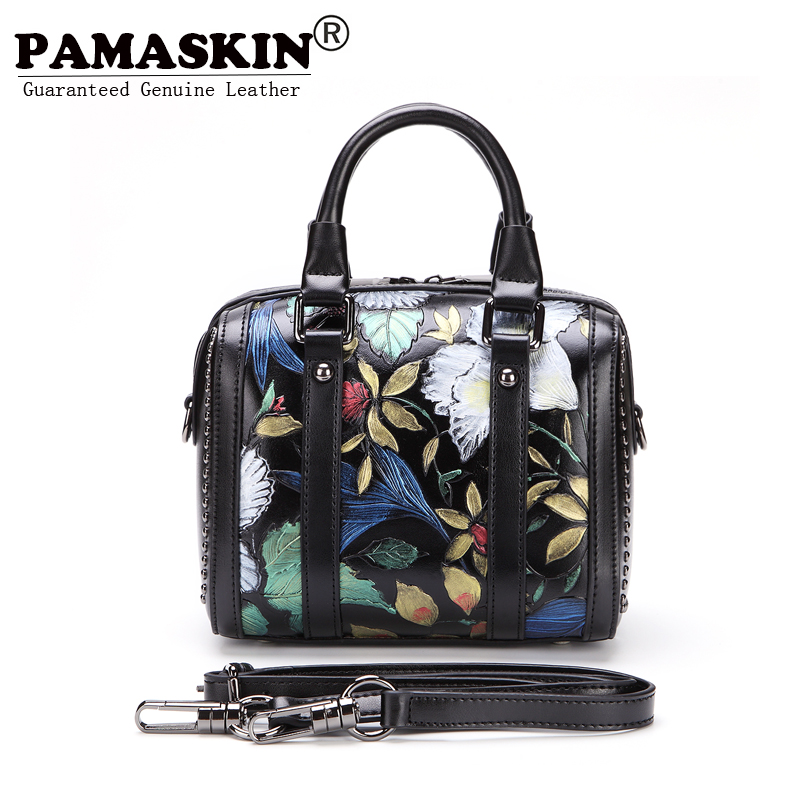 PAMASNKIN Brand European And American Women's Bags 2018 Women Leather Handbags Unique Cowhide Retro Embossed Flower Tote Handbag 2017 autumn european and american fashion women s handbags high end atmosphere banquet tote bag dhl speedy shipping