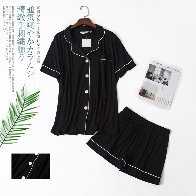 Image 3 - Sexy Couples short modal pajamas sets women and men sleep indoor korean pyjamas Summer short sleeves pijamas de las mujeresPajama Sets   -