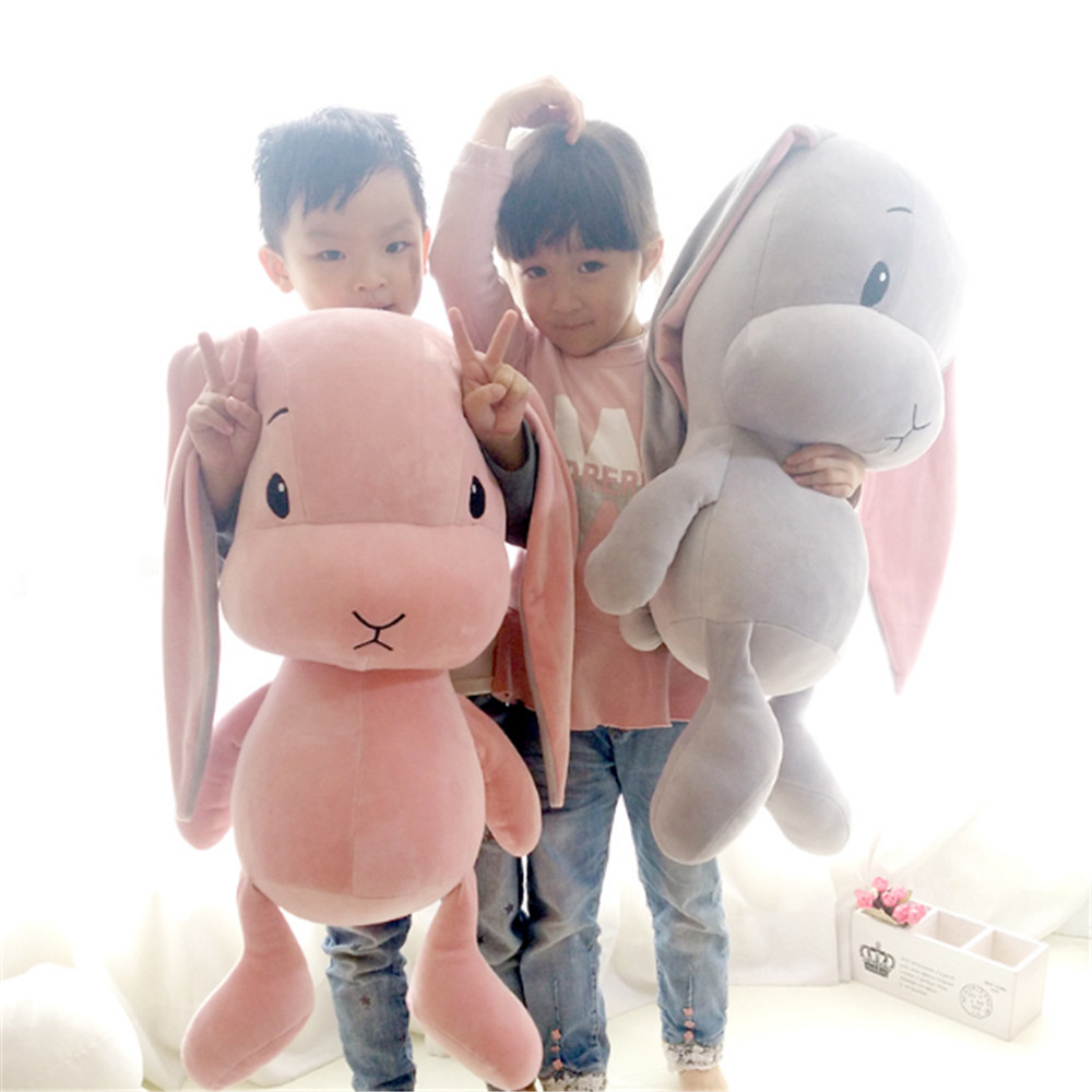 Fancytrader Soft Plush Rabbit Bunny Pillow Toys Big 70cm Stuffed Anime Doll for Kids Gifts  Pink White Gray little love pattern plush rabbit toy bunny bow tie stuffed doll 40cm