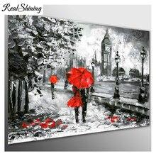 REALSHINING Large Full,Diamond painting,60x80CM,London Walk Lovers Red Umbrella,square mosaic 5d,Diy,Diamond embroidery FS3134