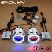 SINOLYN LED Angel Eyes Car Projector Lens HID Bixenon Headlight Devil Evil Eyes Headlamp Retrofit Kit For Car/Motorcycle Styling