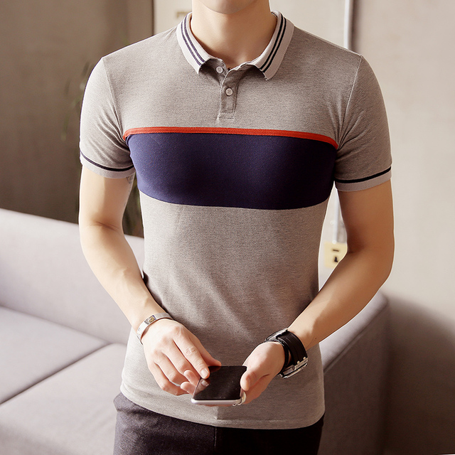 2017 серый, темно-полосатый С Коротким Рукавом Polo Рубашка Мужчины Бизнес Повседневная Мужская Polo Рубашки Camisa Polo Мужской Поло Homme PA40