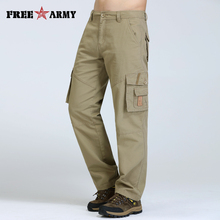Freearmy Denim Pocket Man Pants Khaki Casual Men Jeans Loose Straight Male Cotton Trousers For Men Overalls Autumn Pants Style