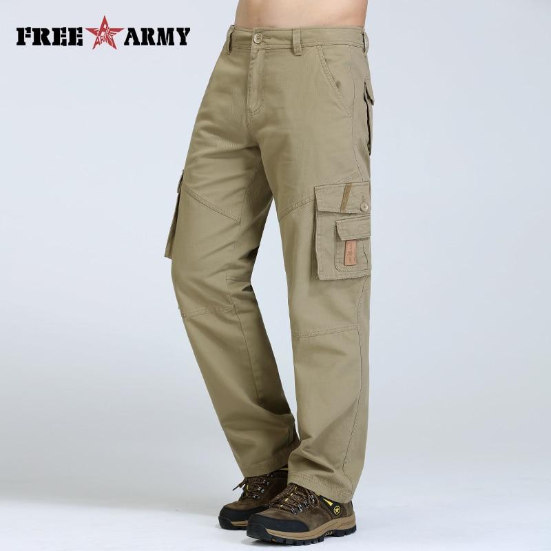 Freearmy Denim Pocket Man Pants Khaki Casual Men   Jeans   Loose Straight Male Cotton Trousers For Men Overalls Autumn Pants Style