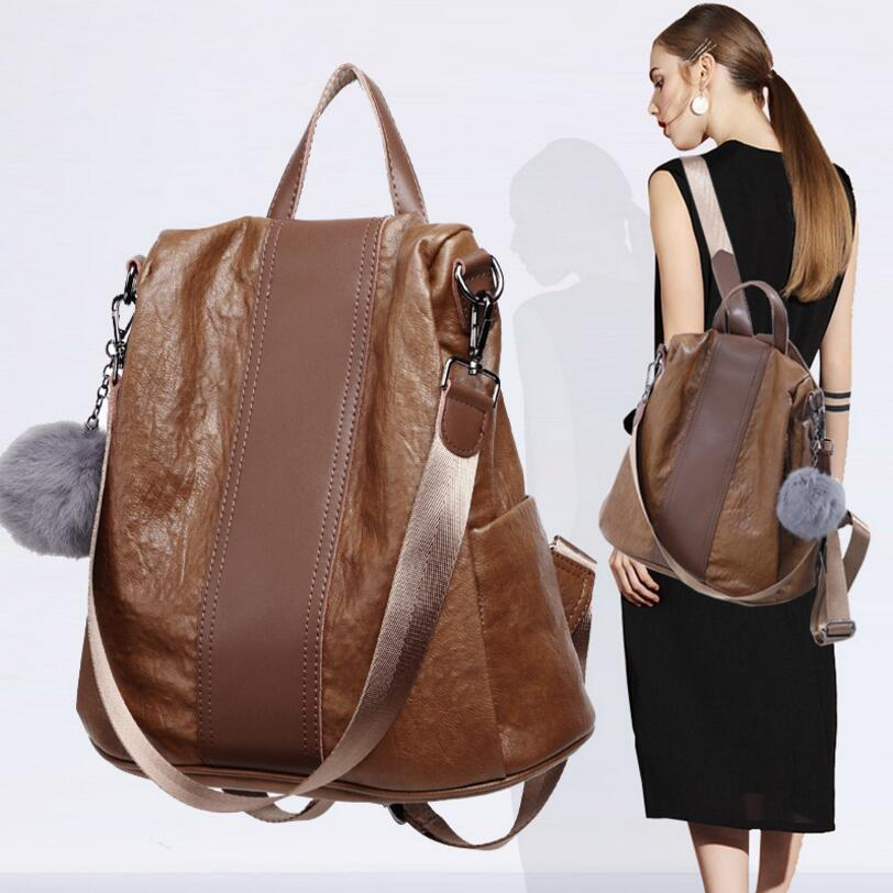 New Real Cow Leather Luxury Fashion Genuine Leather backpack Women Natural Soft Casual Shoulder  large bags for women 2017