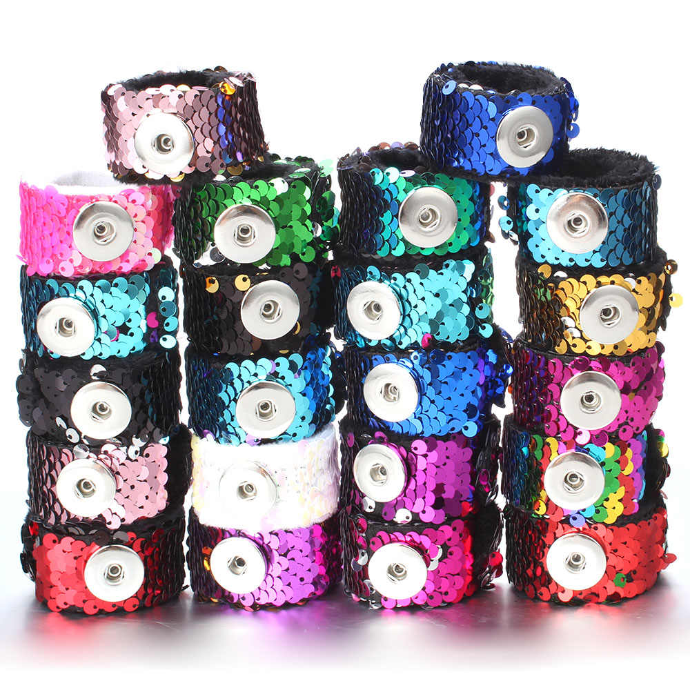 Newest Snap Jewelry 18mm Sequins Snap Button Bracelet Simple Cuff Snap Bracelets For Women Children Fun Gift
