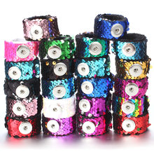 Newest Snap Jewelry 18mm Sequins Snap Button Bracelet Simple Cuff Snap Bracelets For Women Children Fun Gift(China)