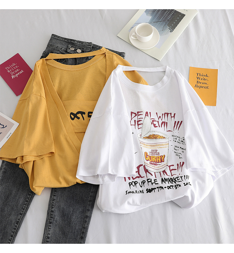 HTB1dVOOcSSD3KVjSZFKq6z10VXaU - summer oversized letter print tshirt female harajuku Back hollow streetwear women t shirt korean casual loose tops long t-shirts