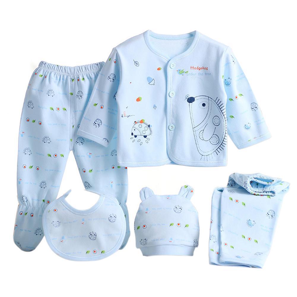5pcs Baby Underwear Set 100% Breathable Cotton Baby Hat Bib Top 2 Pair Of Pants