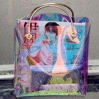 Transparent hologramme sac transparent sac de plage pvc en plastique sac femmes d'été 2017 nouvelle haute qualité candey couleur