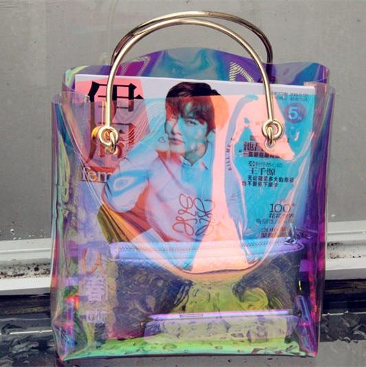 Women Transparent Bag Clear Beach Bag Pvc Plastic Bag Summer 2017 New High Quality Candey Color