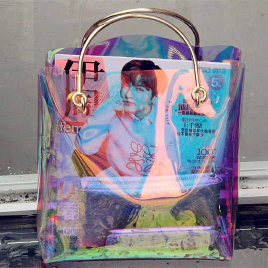 transparent hologram bag clear beach bag pvc plastic bag women summer 2017 new high quality candey color