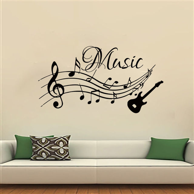 wall decals music decal vinyl sticker guitar musical notes pattern clef suit classroom home bedroom bathroom