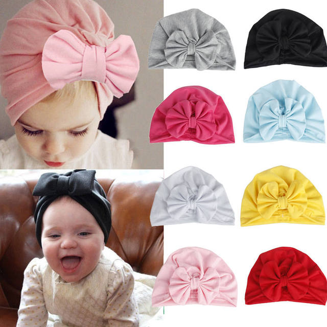 PUDCOCO Girls Boys Baby Child Bowknot Solid Color Stretchy Turban Casual Hat Hair Head Wrap Cap