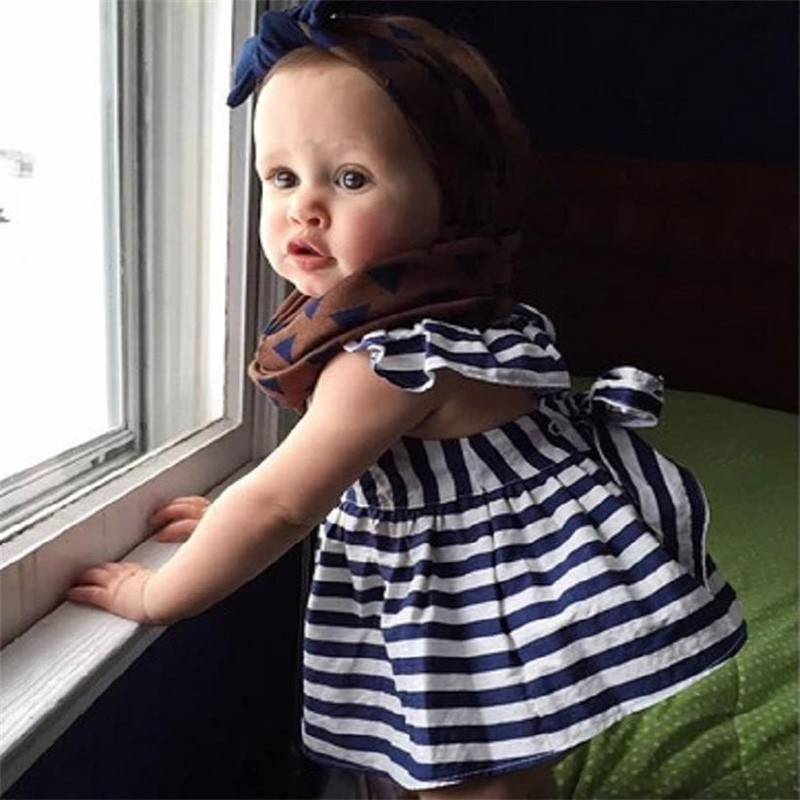 Cute Baby Girl Infant Casual 2Pcs Summer Striped Print Dress with Lace Briefs PP Pants Suit Sets(China)