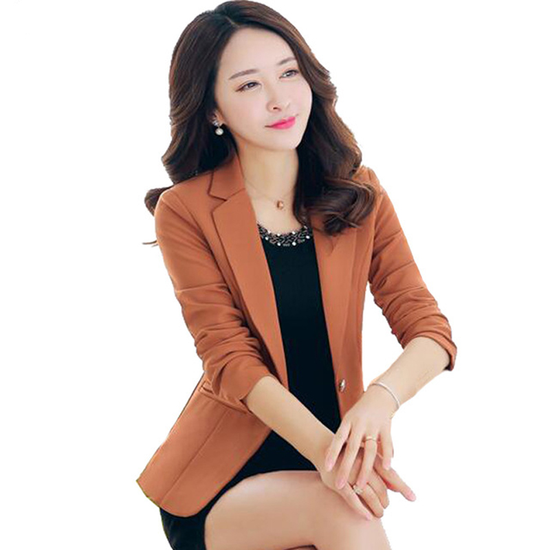 2018 Women Blazers jackets Spring Long Sleeve Casual Elegant Lady Office Coat Slim Plus Size Blazer S-3XL female Y1180