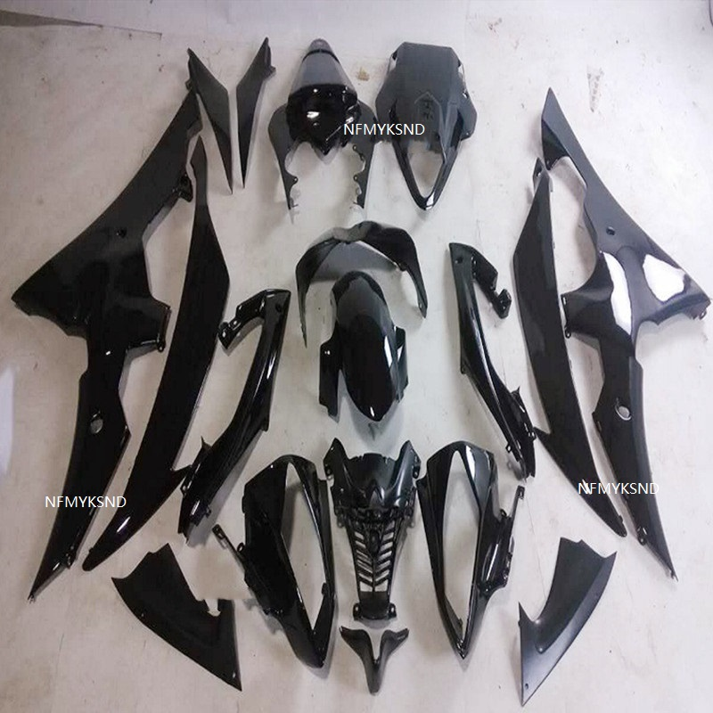 Mold <font><b>Fairing</b></font> <font><b>set</b></font> kit for YAMAHA YZFR6 Injection 08 09 10 12 13 14 <font><b>YZF</b></font> <font><b>R6</b></font> <font><b>2008</b></font> 2012 2013 2014 ABS All gloss black <font><b>Fairings</b></font> image