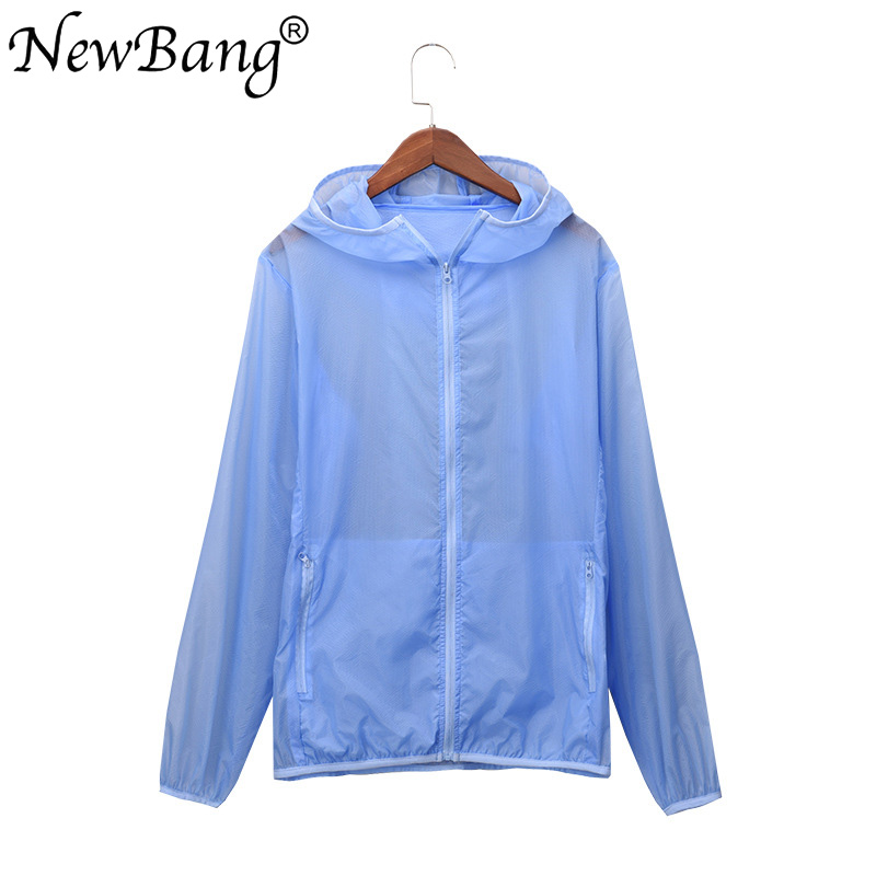 NewBang Fashion 6XL 7XL Summer Womens Windbreaker Jacket Casual Long sleeve Female Coat Plus Hooded With Carry Bag