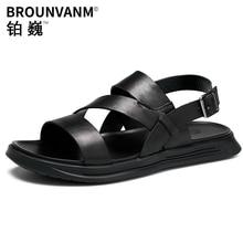 Genuine leather beach ROMAN SANDALS men fashion summer leisure shoes mens gladiator sandals summer casual Shoes beach outdoor все цены