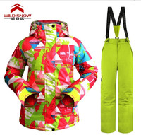 2016 Womens Ski Suit Female Snowboarding Suit Snow Suit Geometric Ski Jacket And Yellow Green Ski