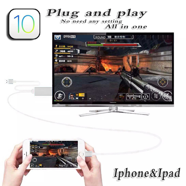 Adaptador av digital hdtv para iphone 6 s 6 se 5S 7 cabo hdmi mhl telefone móvel para tv conversor de vídeo ipad mini ipad air ios 10 CAIXA