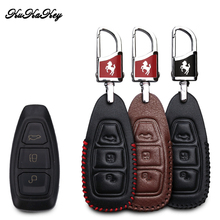 KUKAKEY Leather Car Key Case Bag For Ford Focus Ecoboost Fiesta Ecosport Mondeo Remote  Cover Styling Accessories