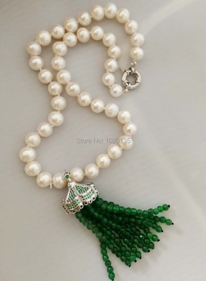 wholesale freshwater pearl white round 9-10mm and green jades stone tassel beads neklace 19inch FPPJ butterfly clasp