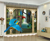 3D Parrot Figure Window Curtain Make Your Home More Vitality