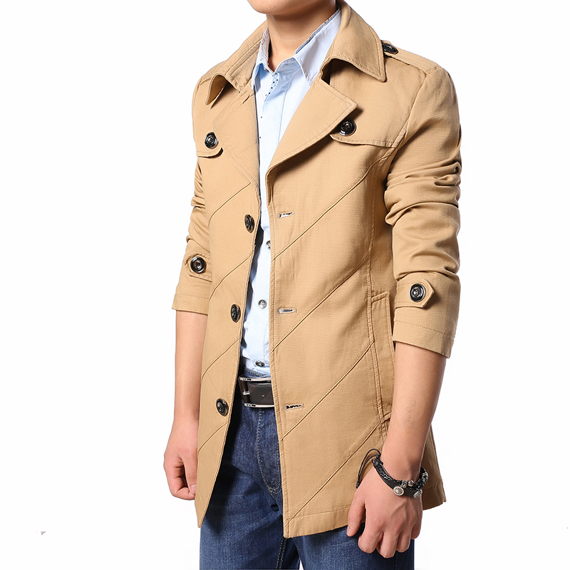 New Arrival 2017 Fashion Trench Men High Quality Turn-Down Collar Jacket Men Outerwear Men's Trench Coat