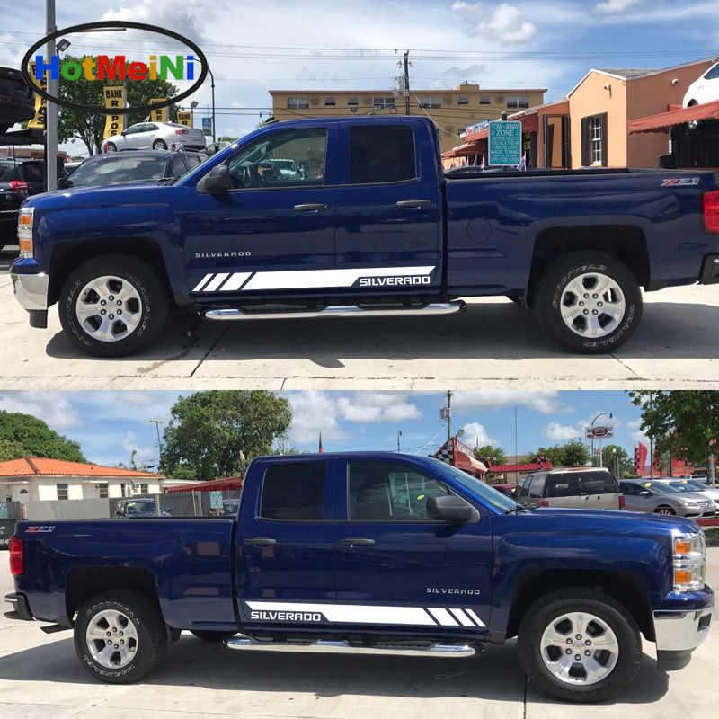 HotMeiNi автомобильный Стайлинг 2x Переводные картинки наклейки для автомобиля боковой набор полосок для Chevrolet Silverado боковой спортивный свет 2017 2016 2015 2014