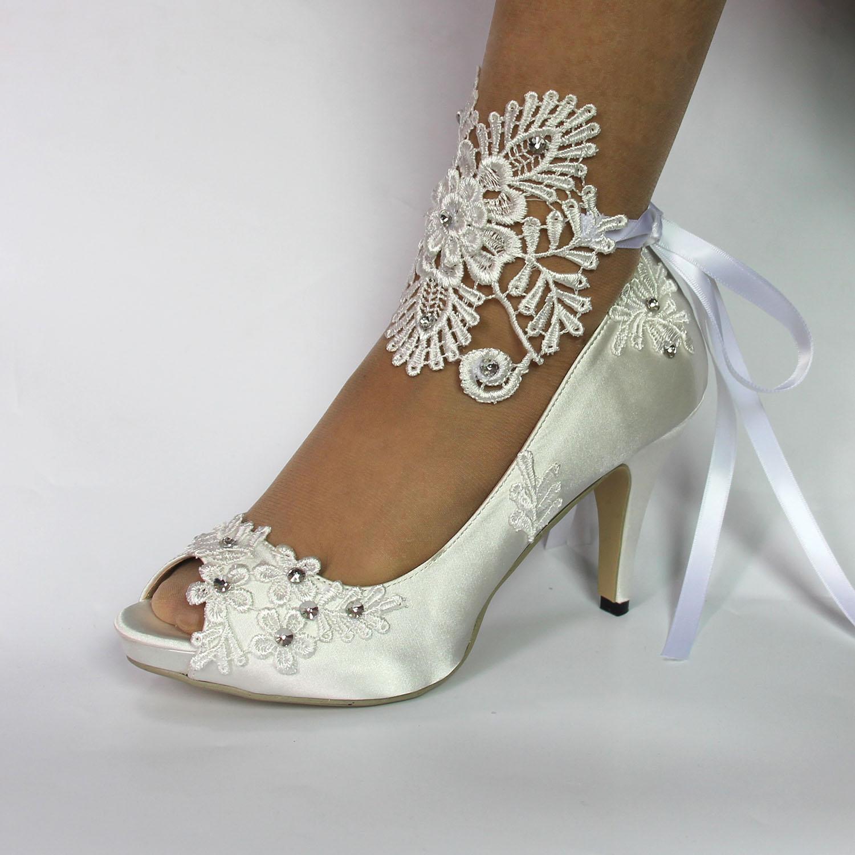 Crystal-Shoes Wedding-Shoes Satin High-Heel Fashion Women Lace