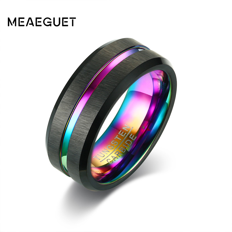 Meaeguet Black Brushed Tungsten Carbide Wedding Ring For Men Women Wedding Bands Rainbow Carbon Fiber Groove Jewelry