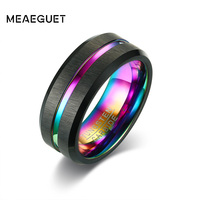Meaeguet Black Brushed Tungsten Carbide Wedding Ring For Men Women Wedding Bands Rainbow Carbon Fiber Groove