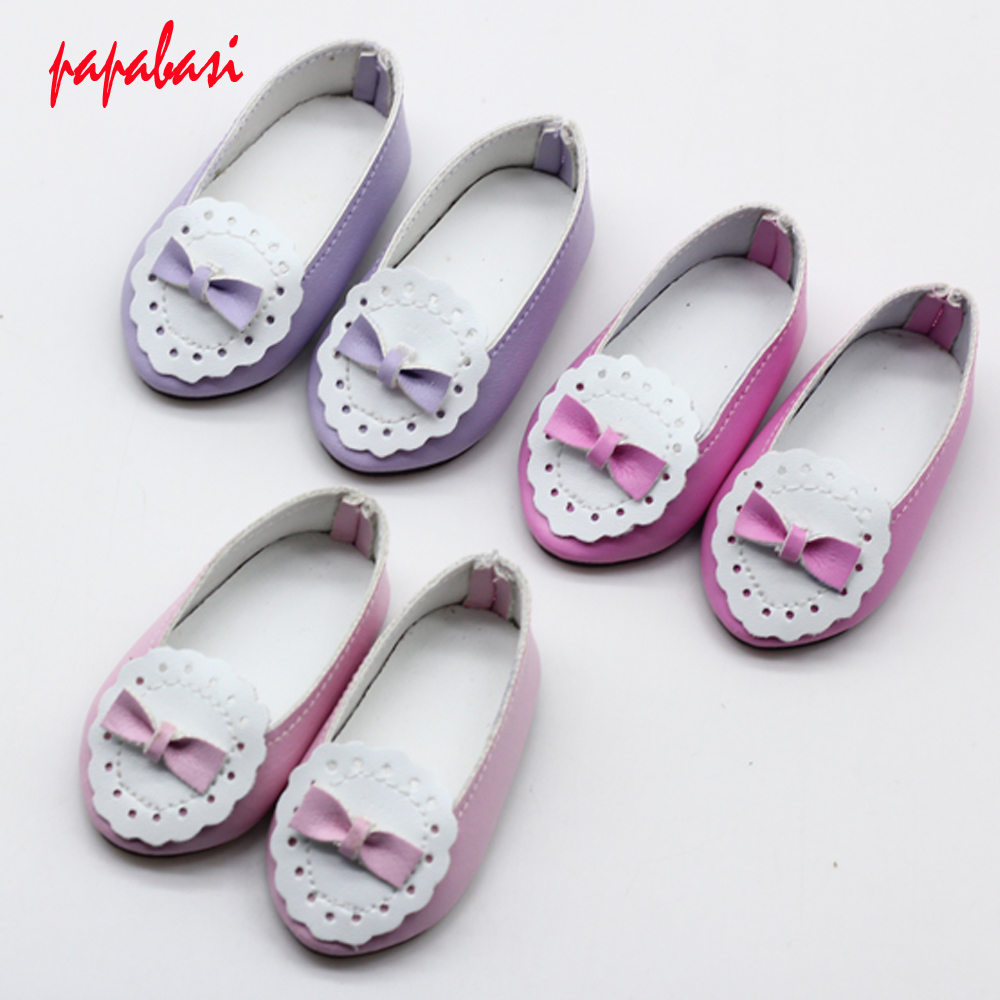 1Pair PU Leather Doll Shoes For 16inch Salon Dolls Accessories Mini Dolls Shoes Toys