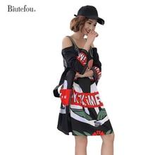2019 New arrival cartoon print slash neck dresses fashion summer women hollow out spaghetti strap