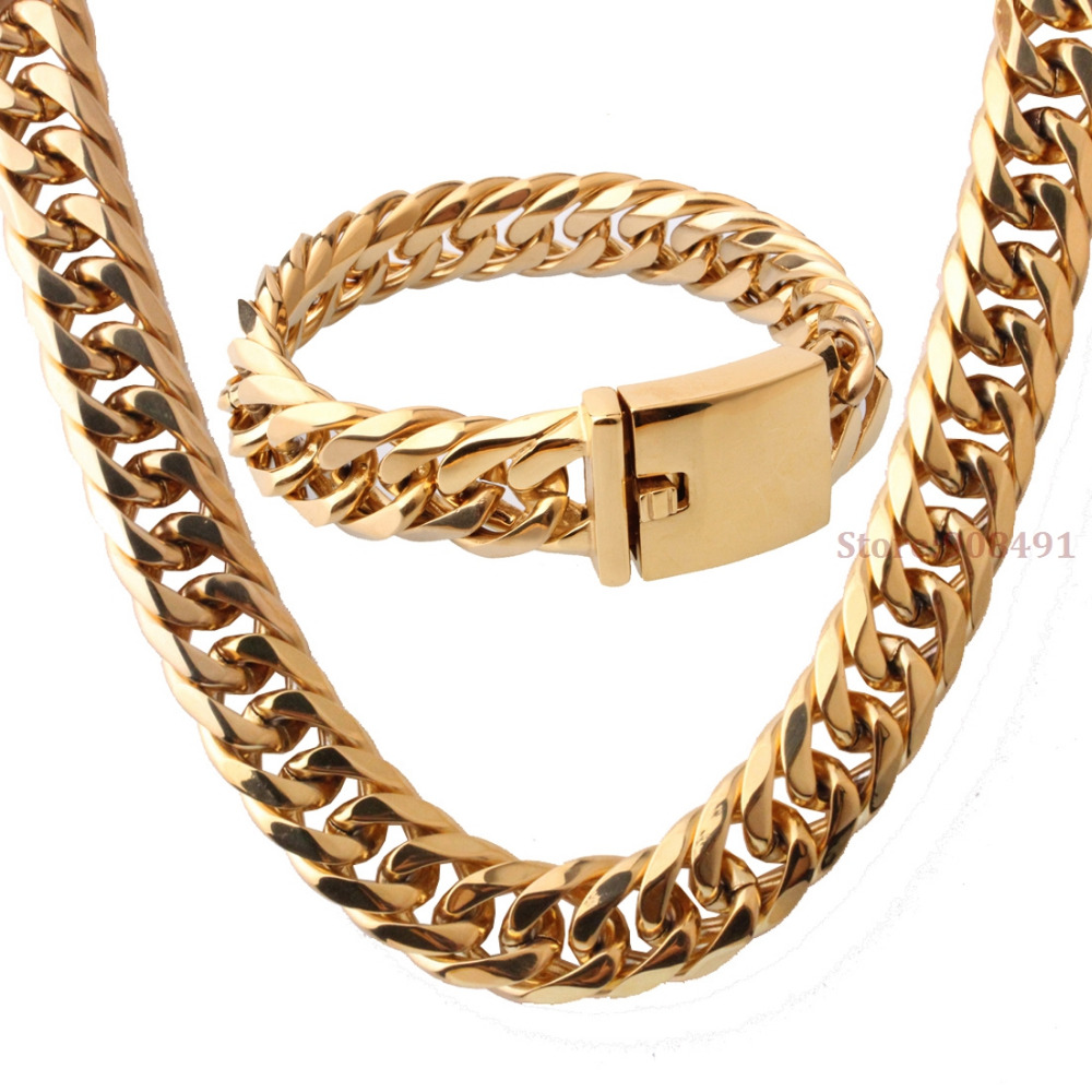 Fashion Jewelry Mens HIp Hop Style Gold Tone Stainless Steel Heavy Wide Curb Link Chain Bracelet Necklace Set 16mm8.66+24 2016 chain link charm china wholesaler top quality mens and womens wide titanium fashion bracelet jewelry