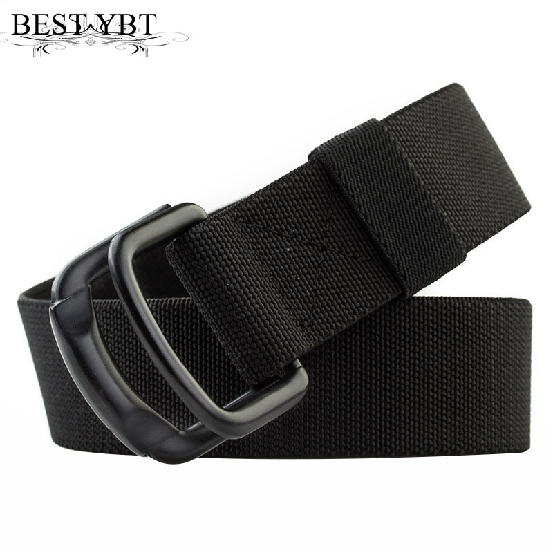 Best YBT Unisex canvas belt Alloy double ring buckle Stretch weave Men belt outdoor casual cowboy Men and Women belt best branded men belt