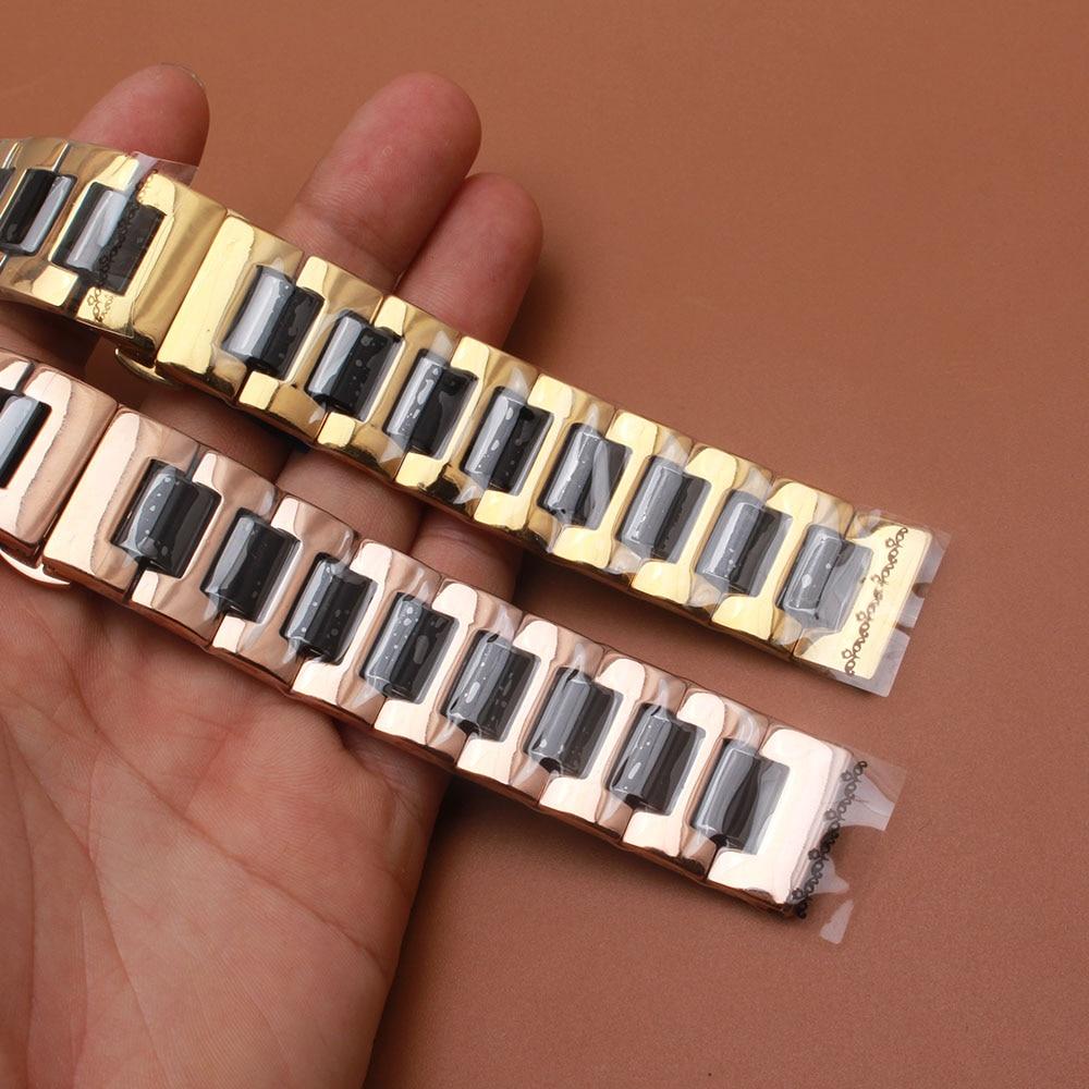 Saat kayışı Gül altın Paslanmaz Çelik Wrap Siyah Seramik - Saat Aksesuarları - Fotoğraf 1