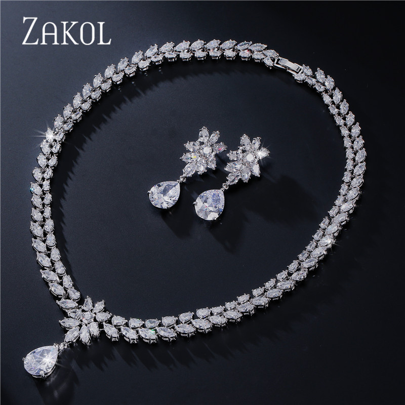 ZAKOL Luxury Flower Water-drop Red Cubic Zirconia Jewelry Sets With Sliver Color For Women Engagement FSSP062 цены онлайн